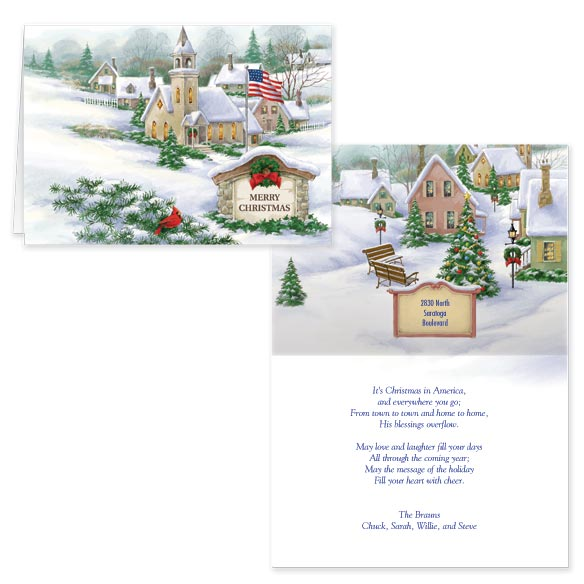 God Bless America Christmas Card Set of 20