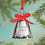 Decorations & Storage - Silver Bell Ornaments Engraved