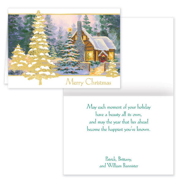 Glowing Cottage Personalized Christmas Cards Set Of 20 - View 1