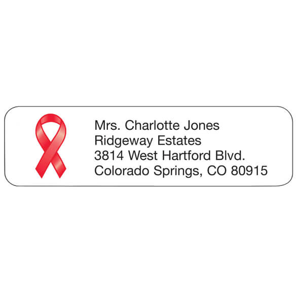 Red Ribbon Personalized Address Labels