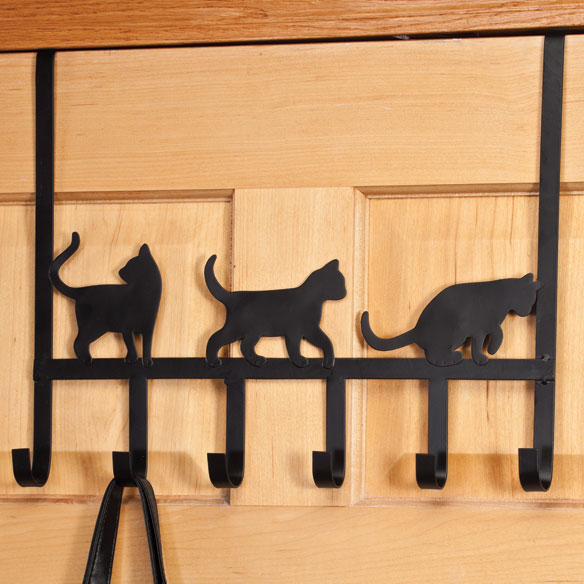 Playful Black Cat Over the Door Hooks