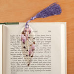 Books & Videos - Leaf Bookmark with Birds, Purple