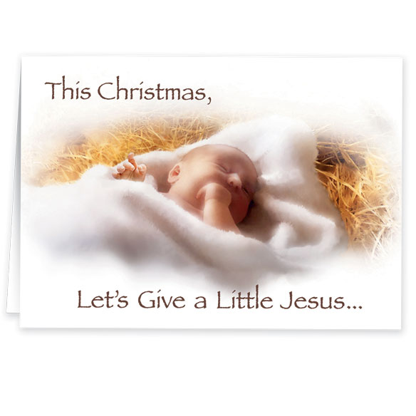 Give a Little Jesus Religious Christmas Card Set of 20 - View 2
