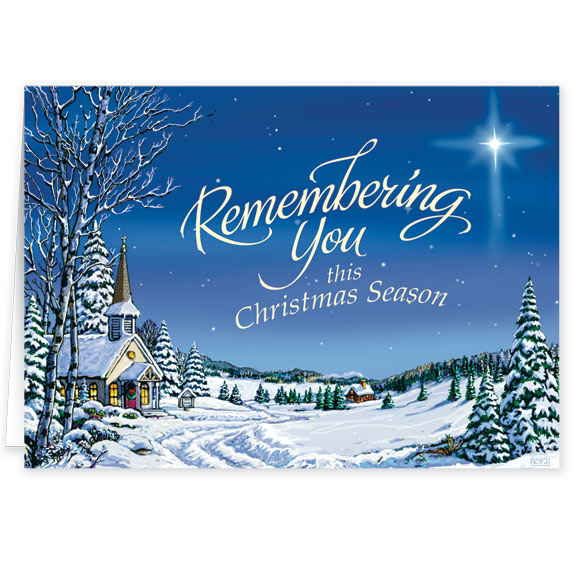 Remembering You Religious Christmas Card Set of 20 - View 2