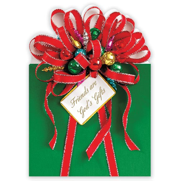 Friends are God's Gifts Christmas Card Set of 20 - View 2