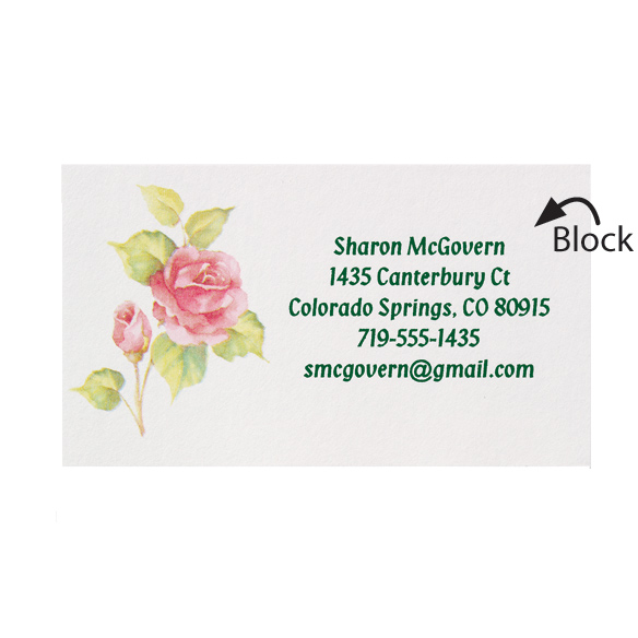Personalized Rose Business Cards - Set of 200 - View 2